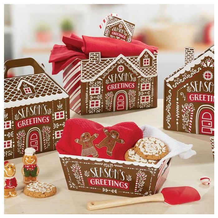 15 Christmas Party Food Boxes ~ Kids Xmas Meal Bag Plate Box ~Gingerbread House
